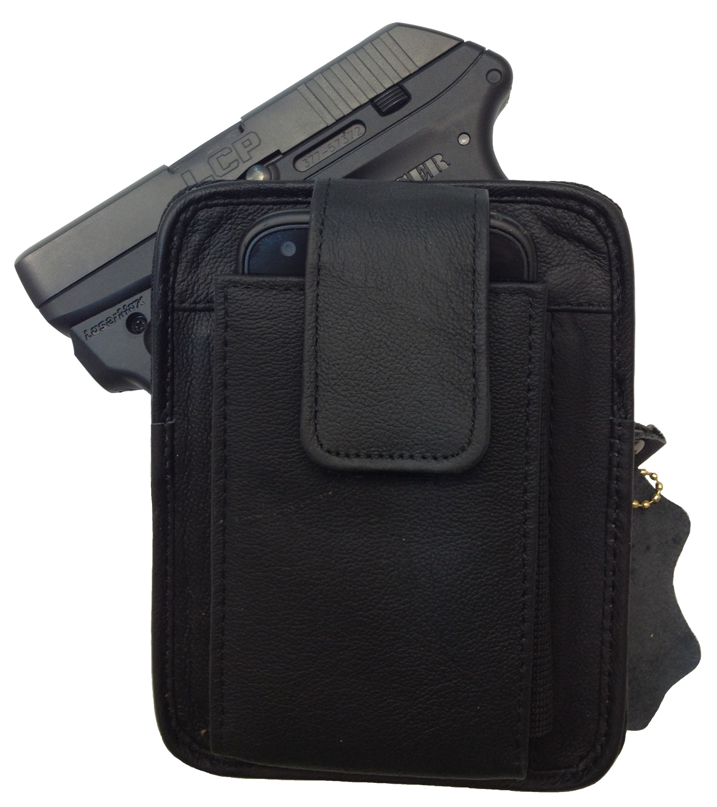 Leather Concealment Gun Holster and Cell Phone Case All In